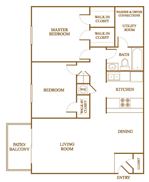 B2 Floor Plan at Orleans Square Apartments in Shreveport, Louisiana, LA
