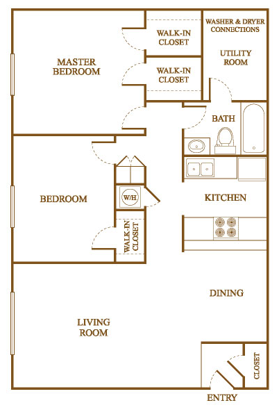 B3 Floor Plan At Orleans Square Apartments In Shreveport, Louisiana, LA