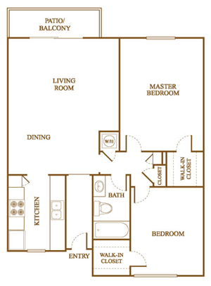 B4 Floor Plan at Orleans Square Apartments in Shreveport, Louisiana, LA