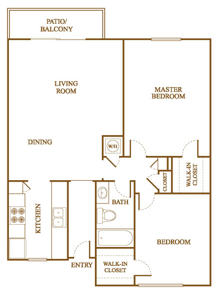Superb B4 Floor Plan At Orleans Square Apartments In Shreveport, Louisiana, LA
