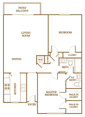 B5 Floor Plan at Orleans Square Apartments in Shreveport, Louisiana, LA