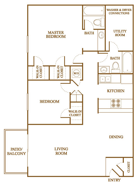 B6 Floor Plan At Orleans Square Apartments In Shreveport, Louisiana, LA