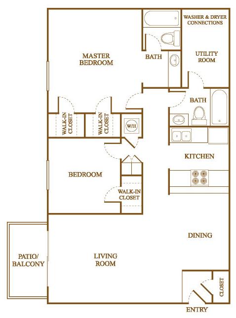 Bon B6 Floor Plan At Orleans Square Apartments In Shreveport, Louisiana, LA