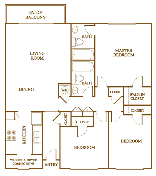 C1 Floor Plan At Orleans Square Apartments In Shreveport, Louisiana, LA