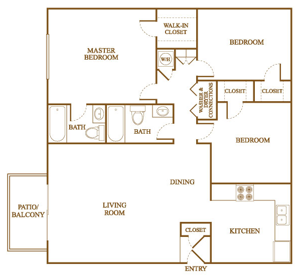 C2 Floor Plan At Orleans Square Apartments In Shreveport, Louisiana, LA