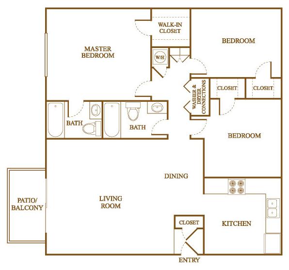 C2 Floor Plan at Orleans Square Apartments in Shreveport, Louisiana, LA