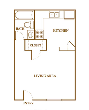 Efficiency Floor Plan at Orleans Square Apartments in Shreveport, Louisiana, LA