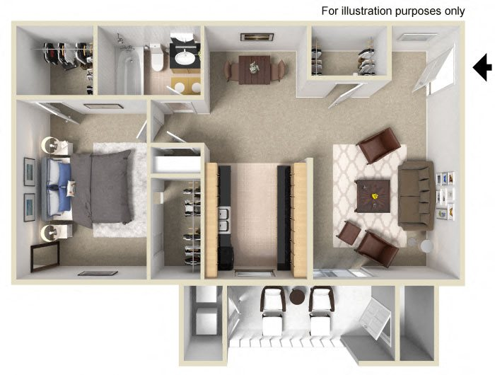 1 Bed 1 Bath Floor Plan at Vizcaya Hilltop Apartment Homes, Reno, NV