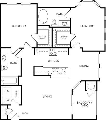 The Azure two bed two bath Floorplan at Azure Villas, Las Vegas, NV, 89081