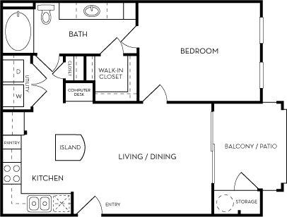 The Cobalt one bedroom one bath Floorplan at Azure Villas, Las Vegas, NV, 89081