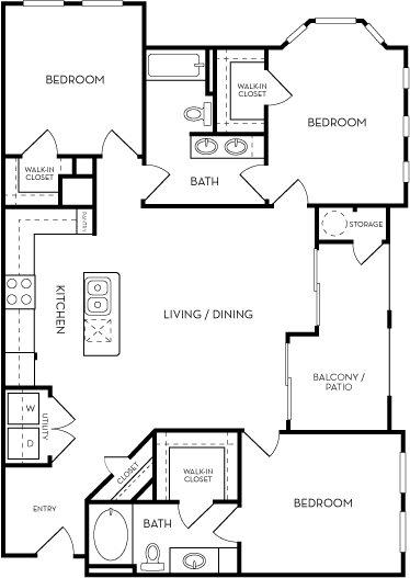 The Royal Three Bed Three bath Floorplan at Azure Villas, Las Vegas, NV, 89081