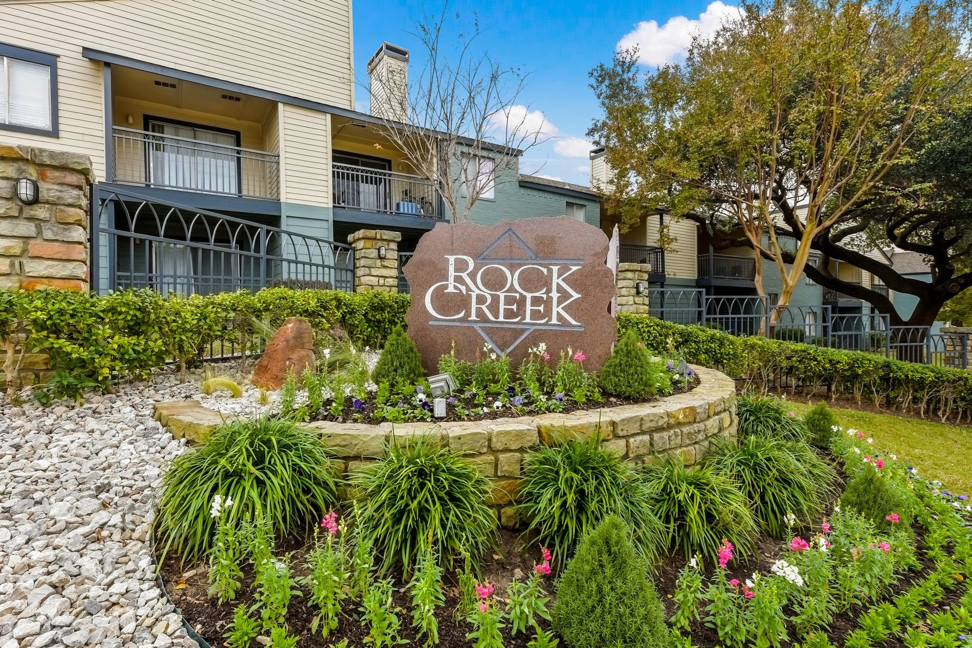 Front Signage at Rock Creek Apartment Homes in Dallas, Texas, TX