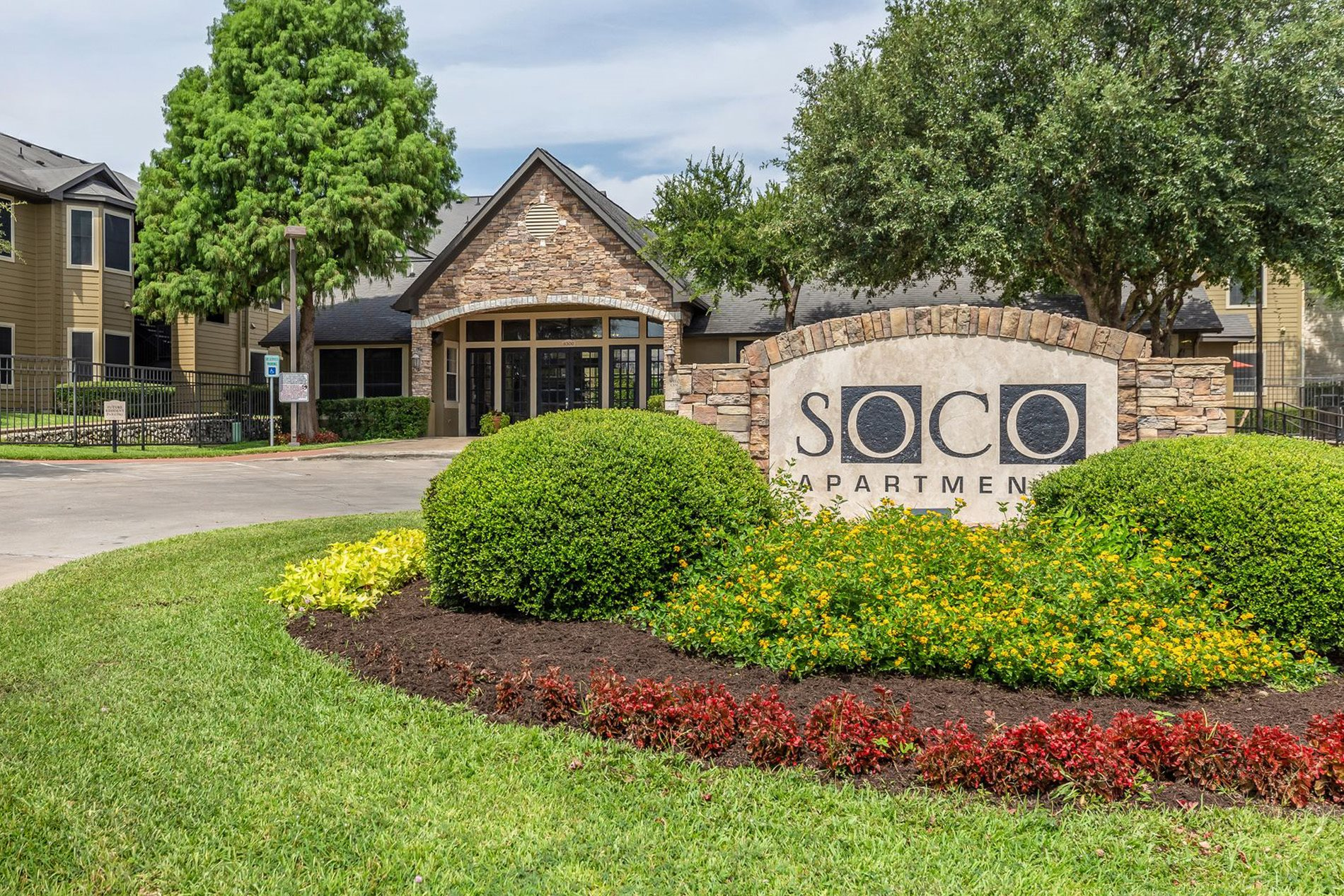 Leasing Office and Signage at SOCO Apartments in Austin, Texas, TX