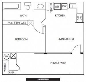 One Bedroom Floorplan at Rio Verde Apartments