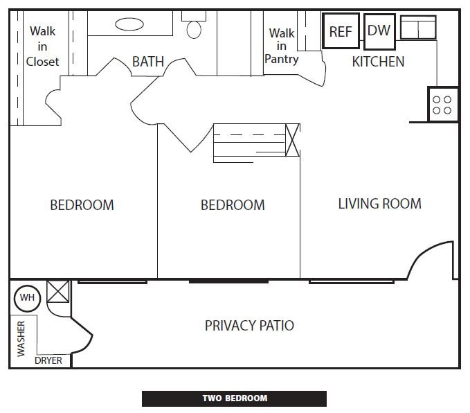 Two Bedroom Floorplan at Rio Verde Apartments
