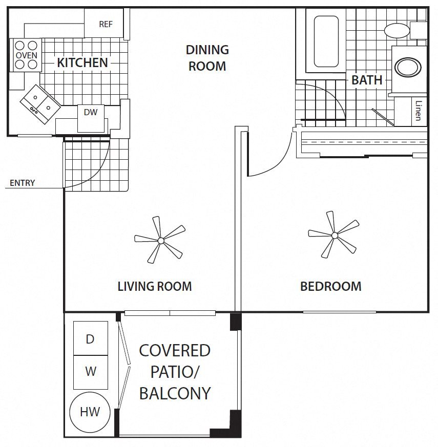 One Bedroom Floorplan at Sagewood Apartments