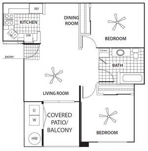 Two Bedroom Floorplan at Sagewood Apartments