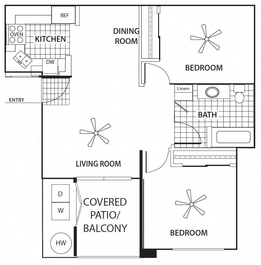 Two Bedroom Floorplan at Sagewood Apartments