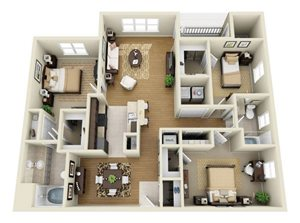 C1: Three Bedrooms, Two Bathrooms