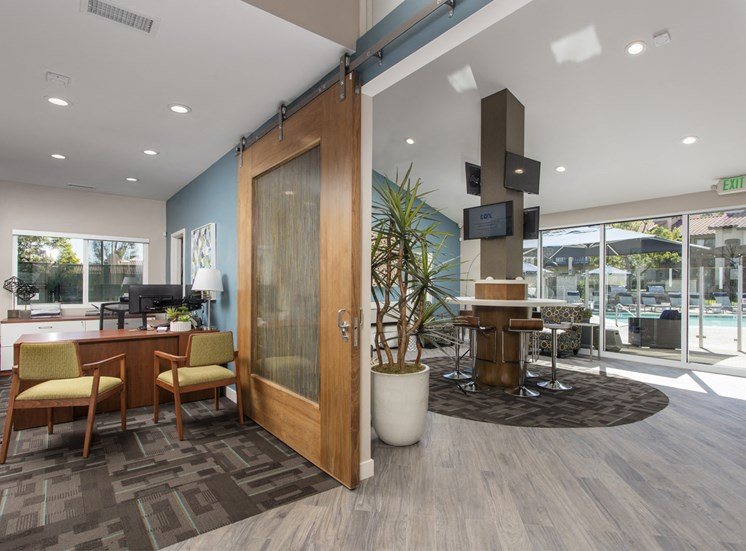 Leasing office and community living area