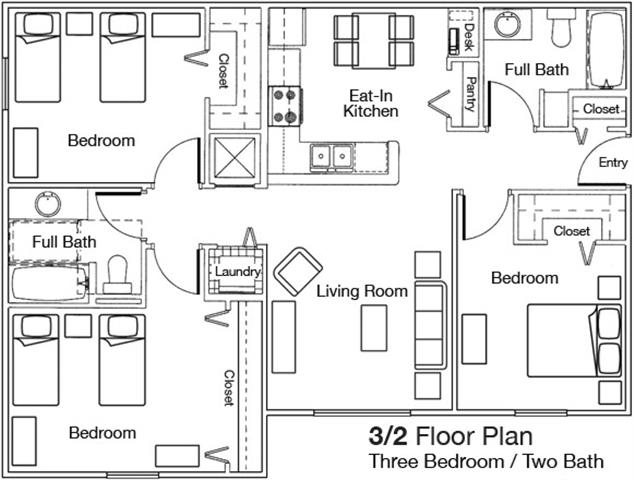 Floor plan at Weston Oaks, Holiday, 34691