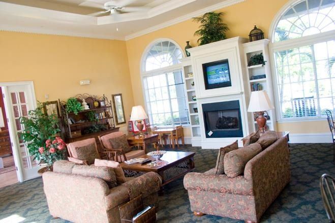 clubhouse with fireplace at westwood apts in Fort Meyers florida