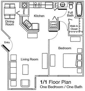 1 Bed Bath 725 Sq Ft Floor Plan At Woodbridge Florida
