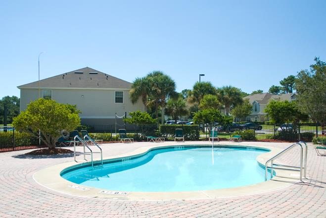 Poolside Sundeck and Grilling Area at Woodcrest, St Augustine, FL, 32084