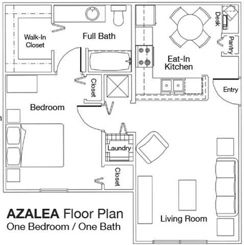 1x1 Floor Plan 1