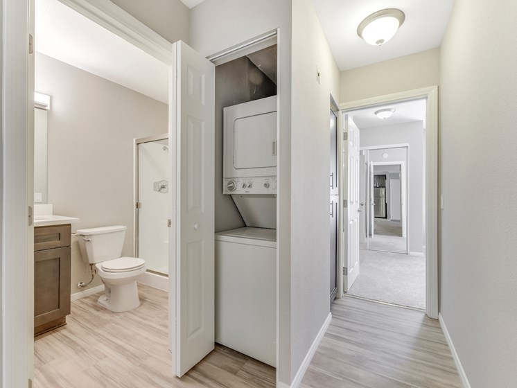 washer and dryer and hallway