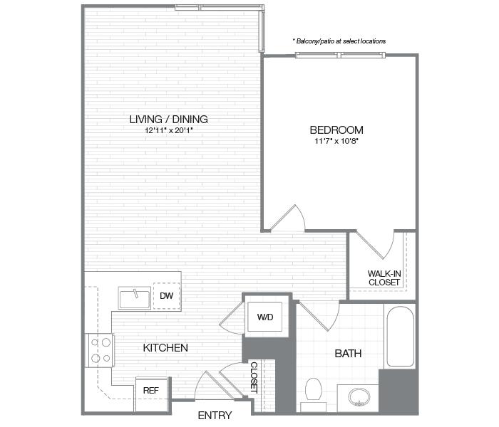 Washington - 1 Bedroom 1 Bath Floor Plan Layout - 790 Square Feet