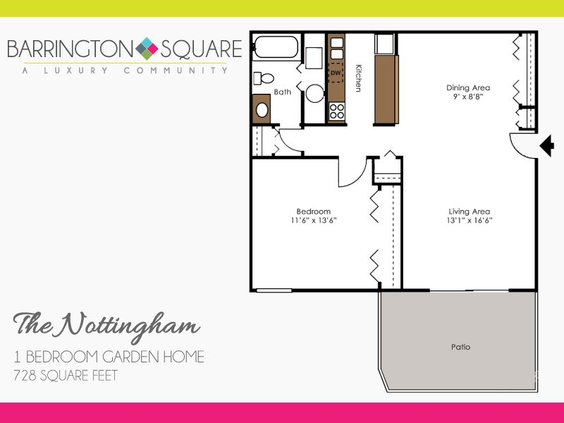 The Nottingham - One Bedroom, One Bath Garden Home