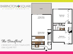 The Bradford - Two Bedroom, One and a Half Bath Town Home