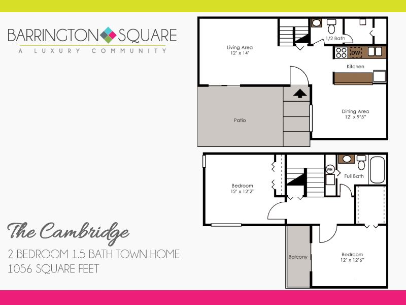 The Cambridge - Two Bedroom, One and a Half Bath Town Home