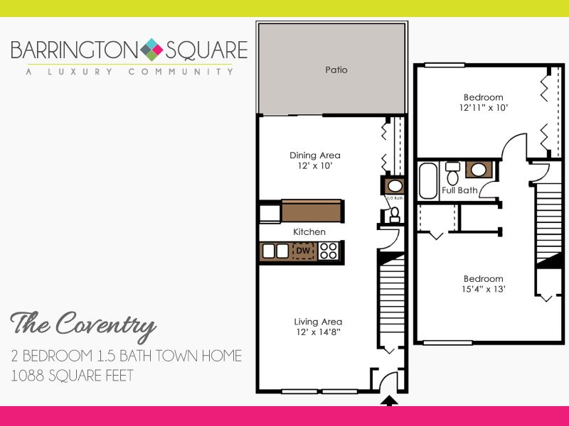 The Coventry - Two Bedroom, One and a Half Bath Town Home