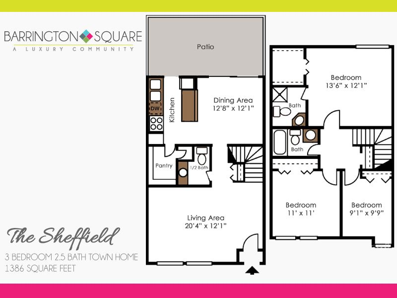 The Sheffield - Three Bedroom, Two and a Half Bath Town Home