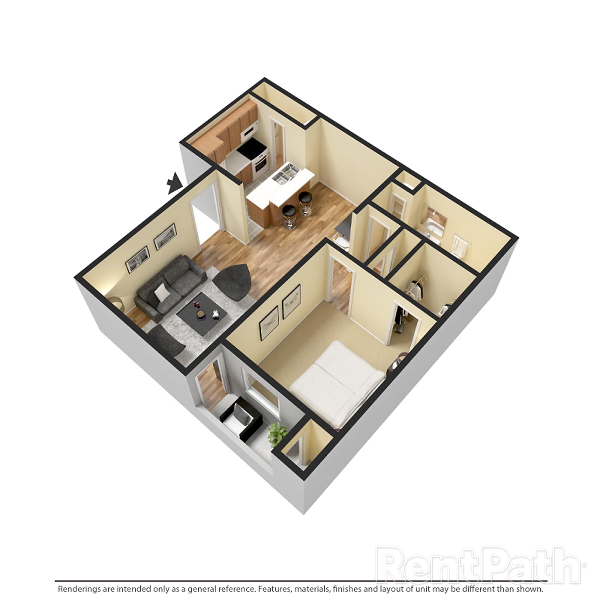 1 bedroom 1 bath Floor Plan 3