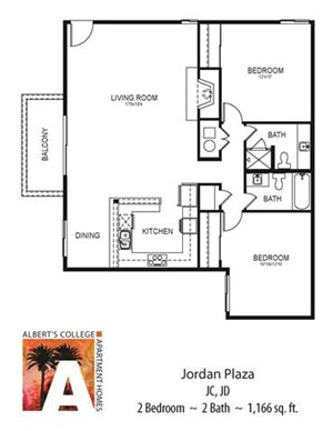 Floorplan at Alberts College Apartments, San Diego, CA