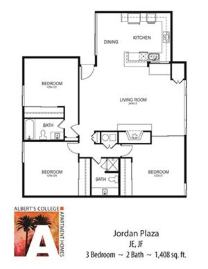 Floor plan at Alberts College Apartments, San Diego, 92115