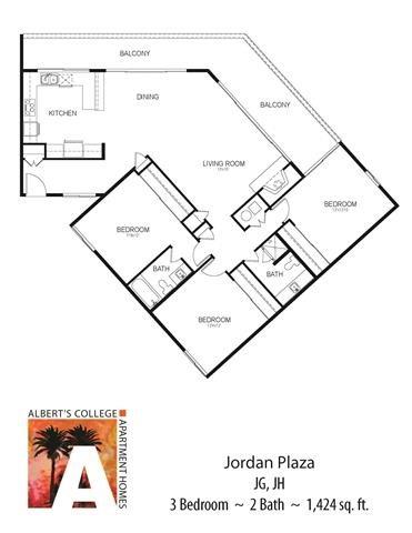 Floorplan at Alberts College Apartments, California, 92115