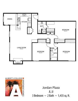 Floorplan at Alberts College Apartments, San Diego, California