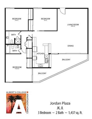 Floorplan at Alberts College Apartments, CA, 92115
