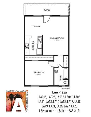 Floorplan at Alberts College Apartments, 5460 55th Street, CA