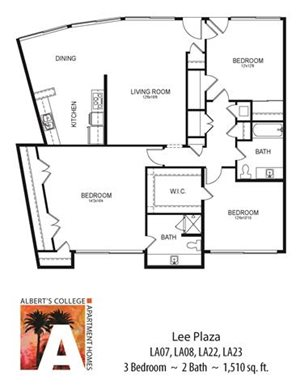 Floorplan at Alberts College Apartments, California, 92115