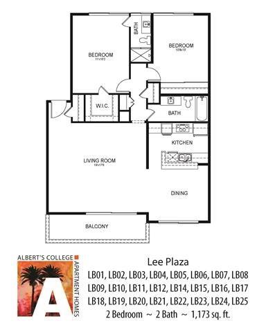 Floorplan at Alberts College Apartments, San Diego, California