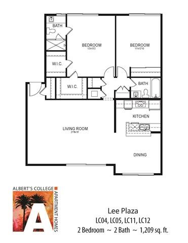 Floorplan at Alberts College Apartments, 5460 55th Street, 92115