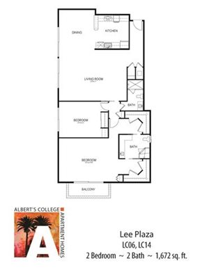 Floor plan at Alberts College Apartments, San Diego, CA