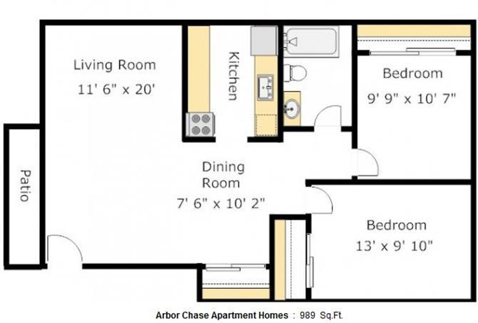 2 Bed 1 bath Floorplan at Arbor Chase, Kent, WA, 98032