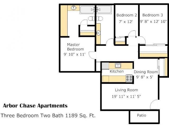 3 Bed 2 Bath Floorplan at Arbor Chase, Kent, WA, 98032