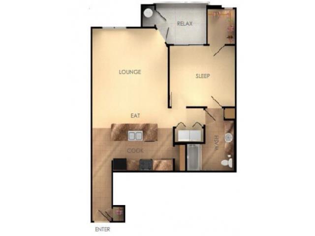 One Bedroom One Bathroom D Floorplan at Ascent at Papago Park, Phoenix, AZ, 85008